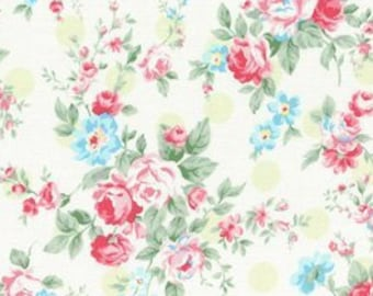 Princess Rose Green Dots - Cotton Fabric by Lecien - Roses & Polka Dots L31265-60