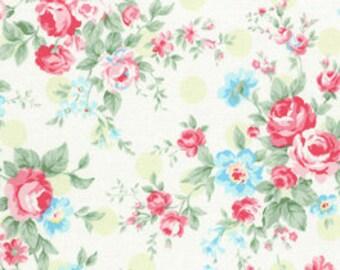 Princess Rose Green Dots - Cotton Fabric by Lecien - Roses & Polka Dots L31265-60