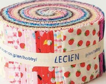 "Jelly Sushi Roll 2 1/2"" fabric strips - Minny Muu - strawberries, foxes, cats, florals - Lecien quilt cotton 42 pieces"