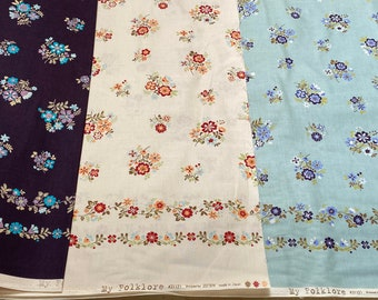 My Folklore by Lecien Double Border floral cotton fabric LEC31121 - by the half yard, choose a color