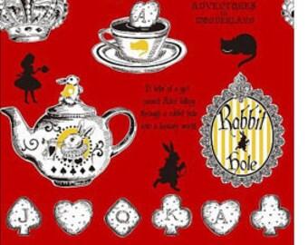 Judie's Cotton Alice in Wonderland - Alice Panel Stripes Tea Party L37-30 red, Lecien of Japan, 1 yard