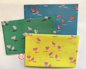 Piper Bird HR52149, Malibu by Heather Ross, quilting cotton mini fabric bundle, 3 fat quarters