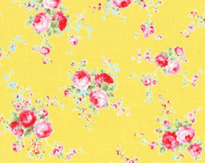 Flower Sugar Spring Rose Fabric by Lecien - Small Rose Bouquet L31130-50 Yellow - select a length