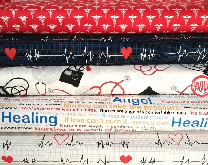 Calling All Nurses by Windham Fabrics - cotton quilting bundle - 5 fat quarters