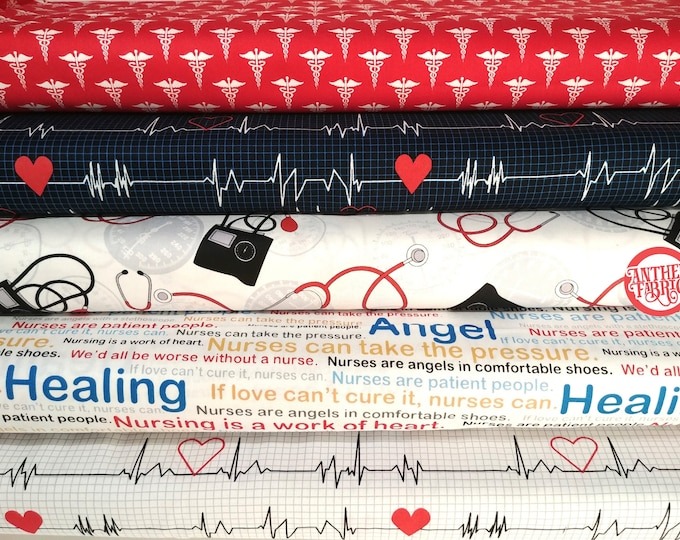 Calling All Nurses - cotton quilting select a fabric - by the yard