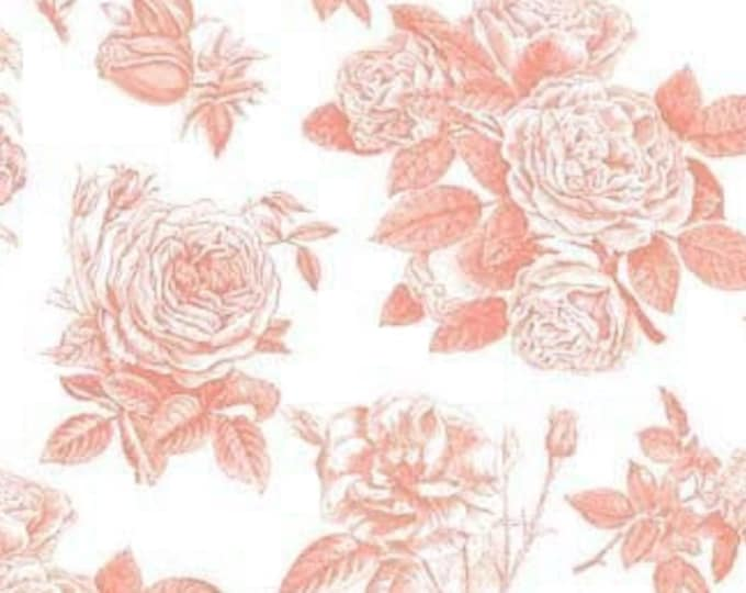 Rose Cotton Fabric RB4540 Coral Orange - Sew Charming by Bo  Bunny for Riley Blake, select length