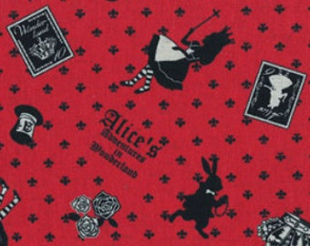 Alice in Wonderland - Alice Allover L40576-30 Red, Japanese Cotton Linen Girl's Story by Lecien of Japan, select length