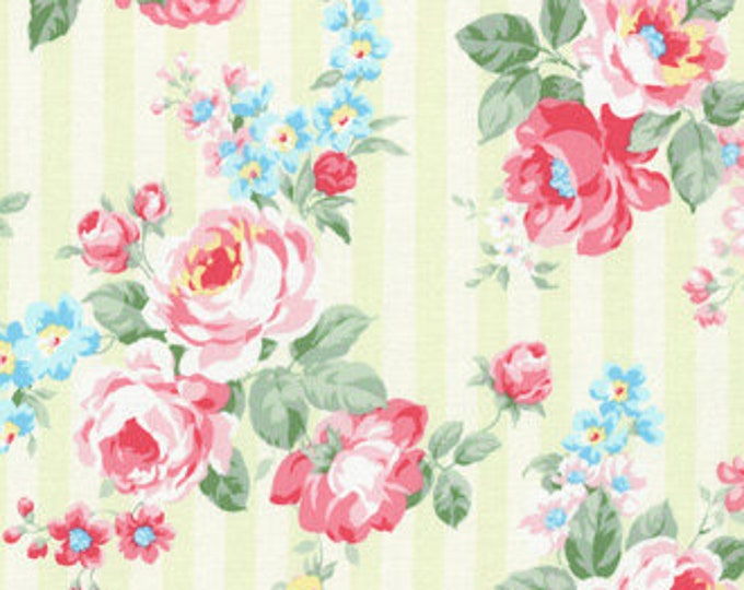 Princess Rose Fabric by Lecien - Stripes and Roses L31264-60 Green