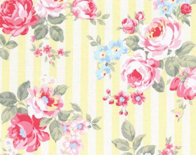 Princess Rose Fabric by Lecien - Stripes and Roses L31264-50 Yellow