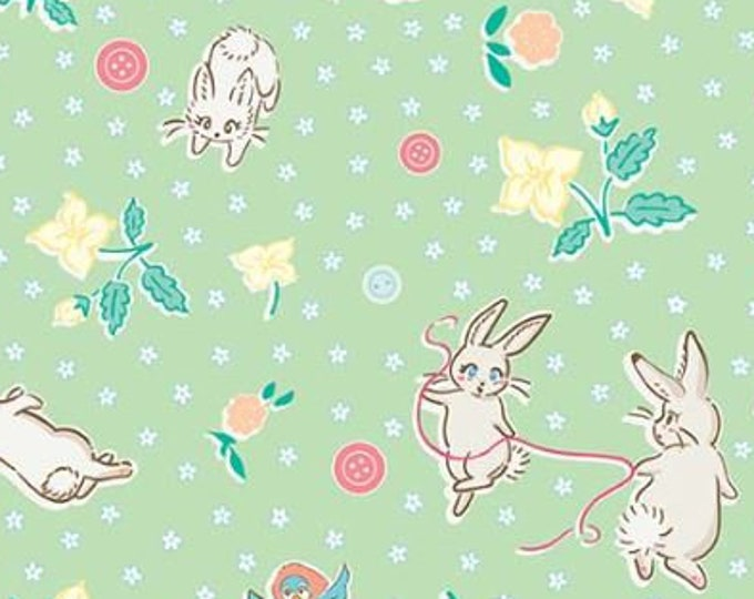 SALE Bunnies Main RB6990-mint quilt fabric, Bunnies & Blossoms by Lauren Nash for Penny Rose Riley Blake