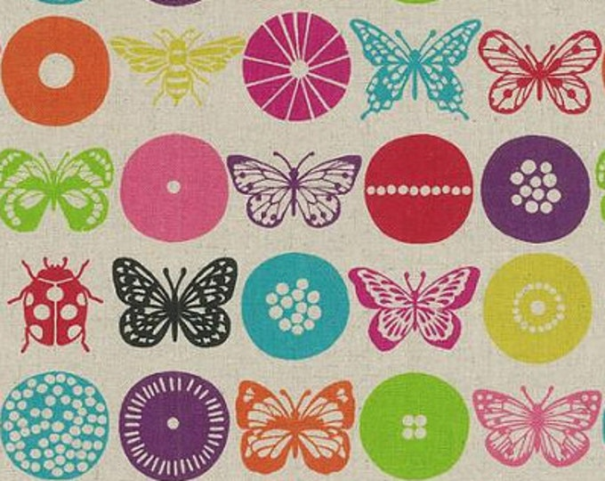 """ECHINO butterfly moth Insect EF804-A Bright - cotton linen fabric by Etsuko Furuya, end of bolt cut 30.5"""""""