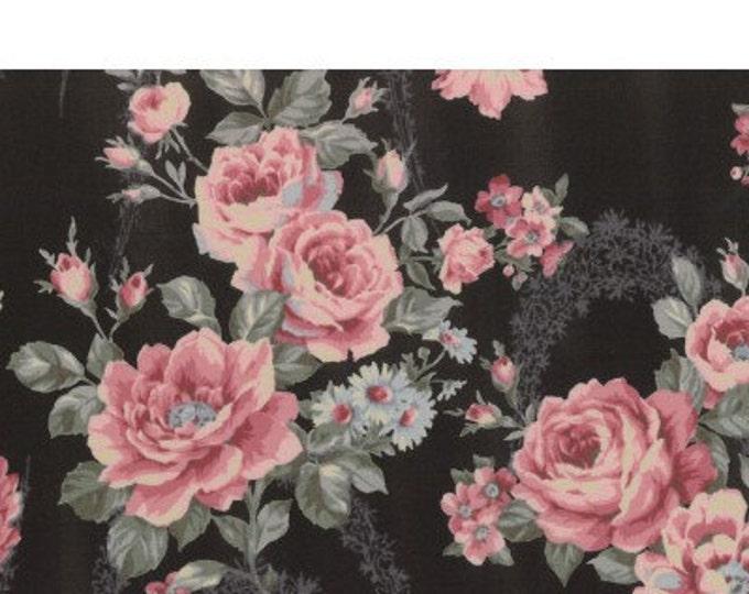 Antique Rose vintage inspired floral fabric - Lecien Japan - Rose  L31297-100 Black, select a length