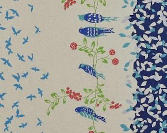 ECHINO STANDARD Border Cotton Linen fabric Bird Song by Etsuko Furuya EF100_10D Navy Blue - select a length
