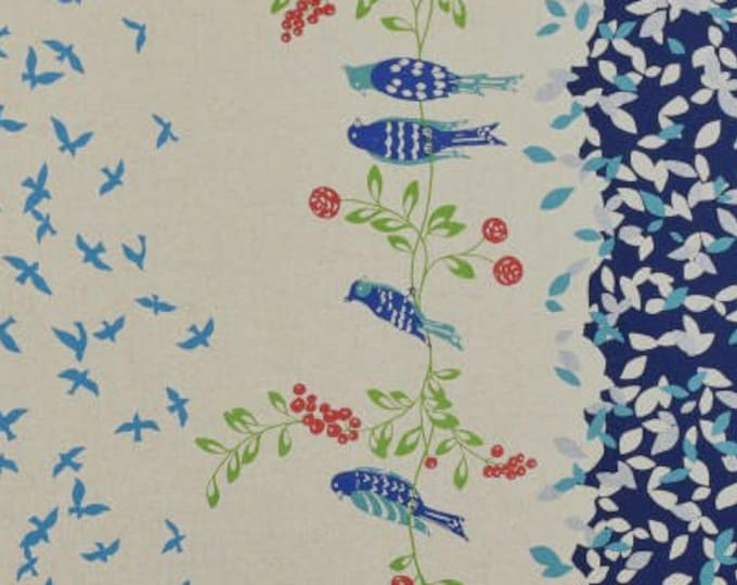 ECHINO STANDARD Border Cotton Linen fabric Bird Song by Etsuko Furuya EF100_10D Navy Blue - select a length