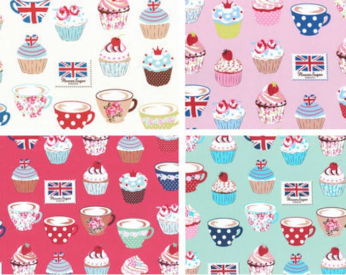 Oxford cotton canvas - Flower Sugar Maison - Tea Cupcakes L40565 fabric Lecien Japan - , 1/2 yard of your choice