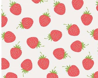 SALE Butterflies & Berries. Strawberries RB6943-white quilt cotton fabric,  by Riley Blake Designs
