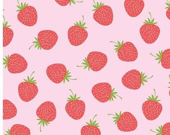 SALE Butterflies & Berries. Red Strawberries RB6943-pink quilt cotton fabric,  by Riley Blake Designs