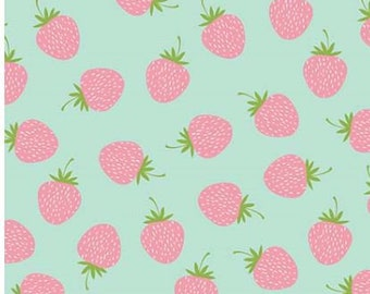 Butterflies & Berries. Strawberries RB6943-MINT quilt cotton fabric by Riley Blake Designs, remnant 1.3 yards