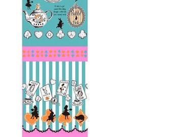 Alice in Wonderland - Judie's Cotton  by Lecien - Alice Panel Border fabric Tea Party L37-70 blue, 1 yard