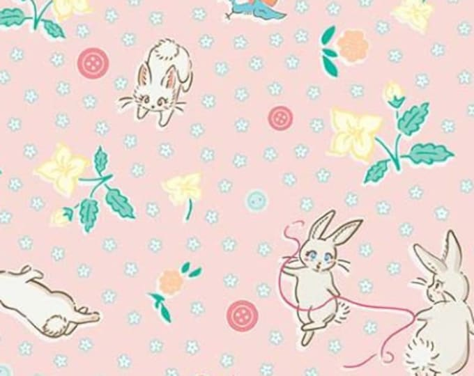 SALE Bunnies Main RB6990-pink quilt fabric, Bunnies & Blossoms by Lauren Nash for Penny Rose Riley Blake