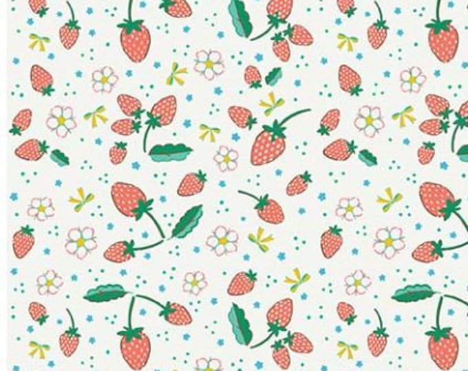 SALE Strawberries RB6994-cream quilt fabric, Bunnies & Blossoms by Lauren Nash for Penny Rose Riley Blake