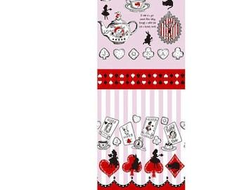 Judie's Cotton Alice in Wonderland - Alice Panel Border Tea Party L37-20 pink, Lecien of Japan, 1 yard