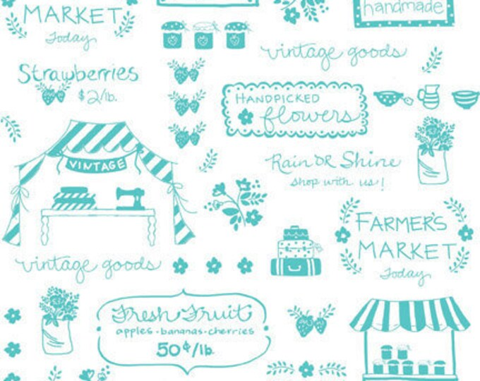 Vintage Market Riley Blake cotton fabric - Vintage Text VM4563 Aqua, select a length