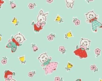 Penny Rose Fabrics Vintage retro inspired cotton Milk, Sugar & Flower by Elea Lutz, Friends PR4341 Green mint - cat bunny floral