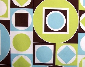 Alexander Henry - Geometric Circles Squares Retro 70s - Maxfield AH5553 Blue Green Brown- select a length