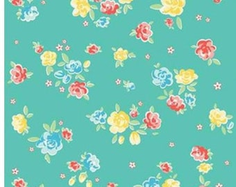 SALE Blossoms RB6992-Teal green small roses quilt fabric, Bunnies & Blossoms by Lauren Nash for Penny Rose Riley Blake