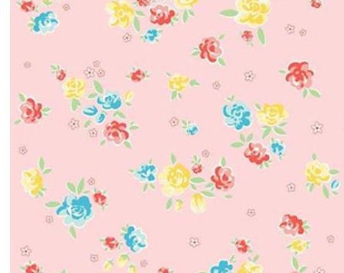 SALE Blossoms RB6992-Pink small roses quilt fabric, Bunnies & Blossoms by Lauren Nash for Penny Rose Riley Blake