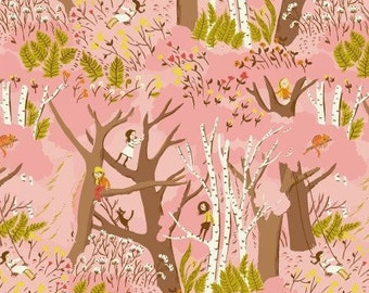Tiger Lily by Heather Ross by Windham Fabrics - Climbing Trees HR40927 Pink, remnant cut 20.5""