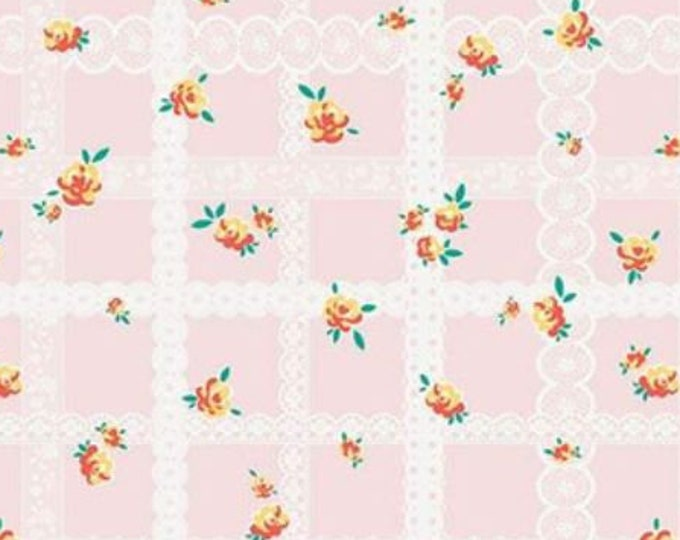 SALE Blossoms RB6993-Pink lace quilt fabric, Bunnies & Blossoms by Lauren Nash for Penny Rose Riley Blake