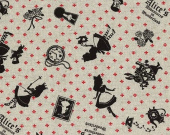 Alice in Wonderland - Alice Allover L40576-10 Natural, Japanese Cotton Linen Girl's Story by Lecien of Japan, select length