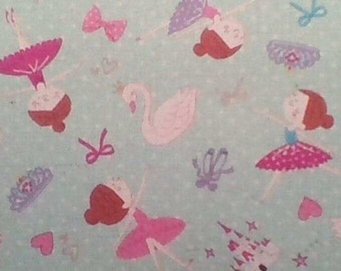 Cotton Linen - Ballet Trefle fabric Kokka Japan - Ballerina Dots K401-C blue, half yard - swan lake castle tiara crown slippers bows hearts