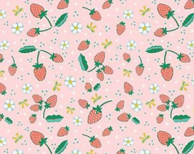 SALE Strawberries RB6994-pink quilt fabric, Bunnies & Blossoms by Lauren Nash for Penny Rose Riley Blake