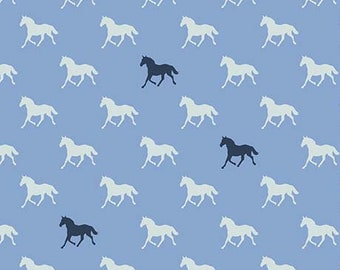 SALE Horses RB6874-blue cotton fabric, navy white race horse - Derby Day by Melissa Mortenson for Riley Blake Designs,