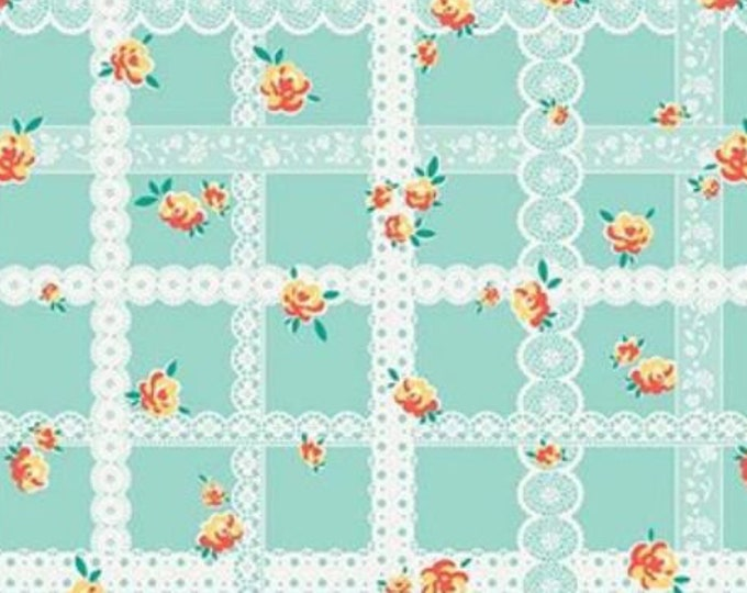 SALE Blossoms RB6993-Teal green lace quilt fabric, Bunnies & Blossoms by Lauren Nash for Penny Rose Riley Blake