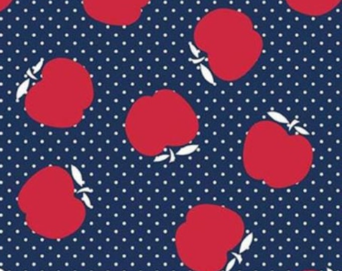 SALE Sunnyside Avenue Apples RB7101 - navy blue red quilt fabric, by Amy Smart for Riley Blake