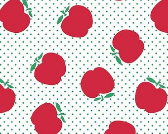 SALE Sunnyside Avenue Apples RB7101 - white red quilt fabric, by Amy Smart for Riley Blake