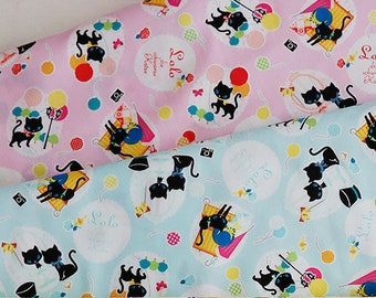 Lolo Black Cat by Kokka Japan - oxford cotton fabric K2303