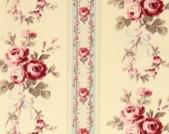 HOME DECOR Petal by Tanya Whelan - Cotton Sateen - Antique Ticking Roses HDTW056BL Vintage beige grey stripes - 1 yard