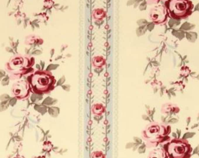 HOME DECOR Petal by Tanya Whelan - Cotton Sateen - Antique Ticking Roses HDTW056BL Vintage beige grey stripes - half yard