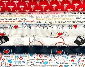 Calling All Nurses - cotton quilting fabric - by the yard
