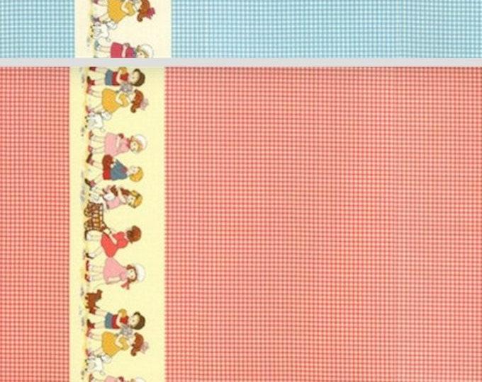 Cotton fabric retro Petite Marianne Double Border Gingham - Lecien of Japan