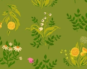 Sleeping Porch by Heather Ross, COTTON LAWN fabric - Bouquet HR42207 Olive Green - 1/2 yard