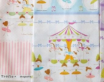 Prima Ballerina Border Fabric K5005 Kokka Japanese Cotton Petit Ecole, 1 yard
