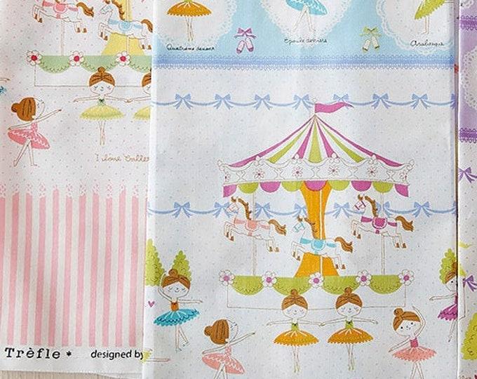 Prima Ballerina Border Fabric K5005 BLUE - Kokka Japanese Cotton Putite Ecole, 1 yard
