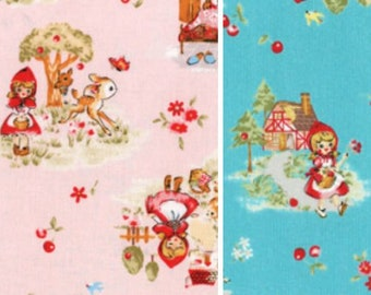Little Heroines Red Riding Hood - Allover L40539 Lecien Japan, select bundle or 1/2 yard