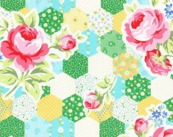Flower Sugar Spring Fabric by Lecien - Hexagon Patchwork L31128-50 Yellow Green , select a length
